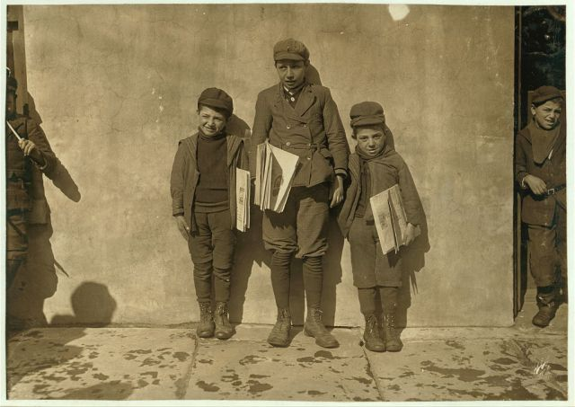 Title: John Pento, 14 years old, has been selling for 7 years. Daniel and Angelo, are his twin brothers. They are 7 years old and been selling one year. Sell until 8 P.M. some nights. Location: Hartford, Connecticut.-http://www.loc.gov/pictures/collection/nclc/item/ncl2004001466/PP/ Creator(s): Hine, Lewis Wickes, 1874-1940, photographer Date Created/Published: 1909 March