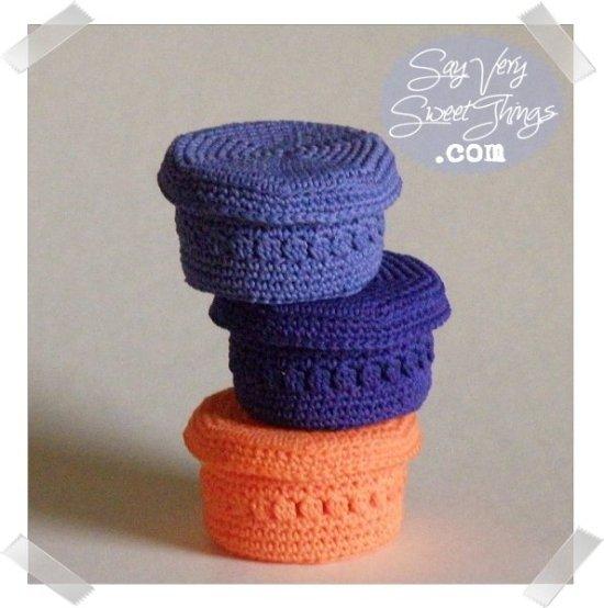 Crochet Trinket Baskets With Lid | Say Very Sweet Things